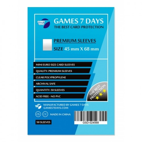 Протектори для карт Games 7 Days 45x68 мм Premium (50 шт)
