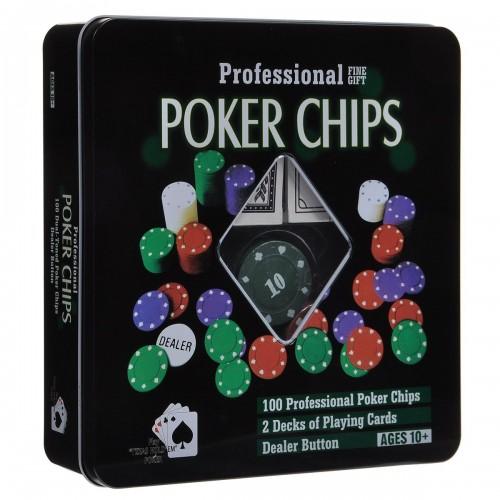 Покерний набір на 100 фішок з номіналом (жерстяна коробка)