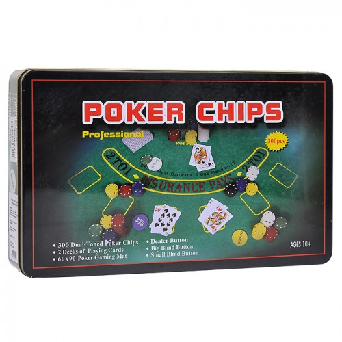 Покерний набір на 300 фішок з номіналом (жерстяна коробка)