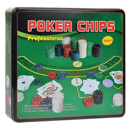 Покерний набір на 500 фішок з номіналом (жерстяна коробка)