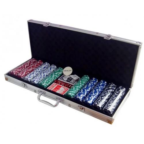 Покерний набір на 500 фішок без номіналу алюмінієвий кейс