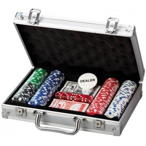 Покерний набір на 200 фішок без номіналу алюмінієвий кейс